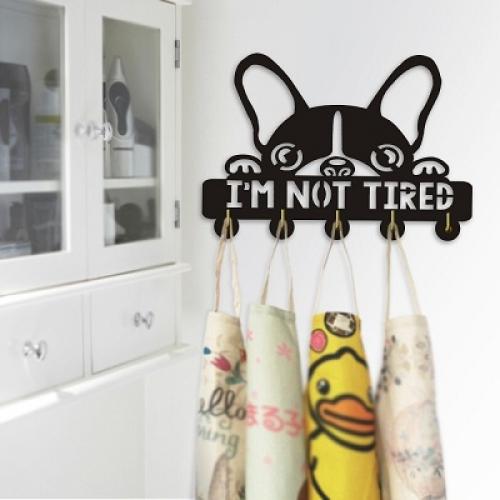 Настенная вешалка с бульдогом «Im Not Tired»