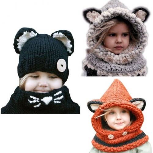 Теплые шапки-зверушки